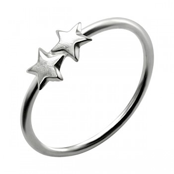 STERLING SILVER NOSE RING WITH 2 SILVER STARS