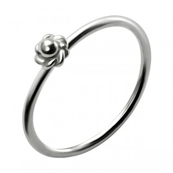STERLING SILVER NOSE RING WITH SILVER ROSE