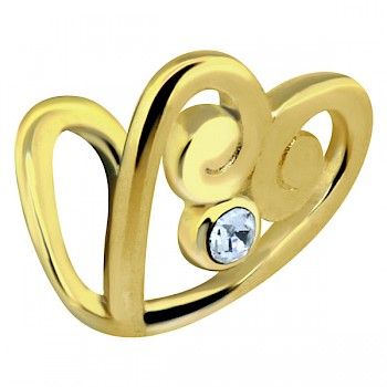 CLIP-ON TRAGUS & EAR CUFF - GOLD PLATED JEWELLED HEART