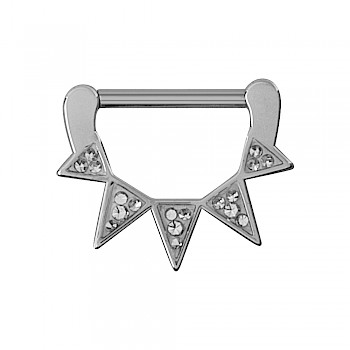 JEWELLED SPIKES NIPPLE CLICKER RING