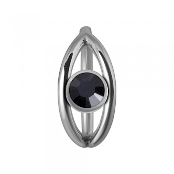 JEWELLED DOUBLE BAND CLICKER SEGMENT RING - BLACK