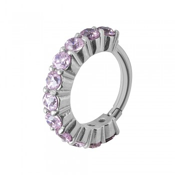 CARTILAGE PIERCING CLICKER RING - PINK