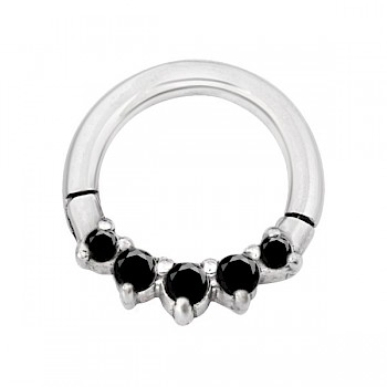 CZ CLICKER SEGMENT RING - BLACK