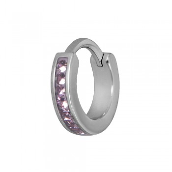 TRAGUS & HELIX CLICKER RING - PINK CRYSTAL