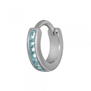 TRAGUS & HELIX CLICKER RING - AQUA BLUE CRYSTALS