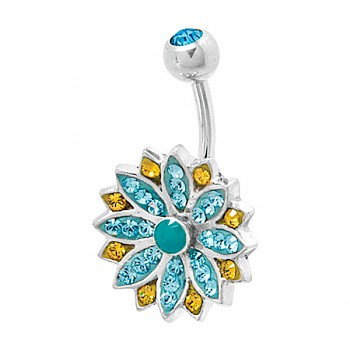 AQUA CORNFLOWER BELLY BAR WITH SWAROVSKI ELEMENTS