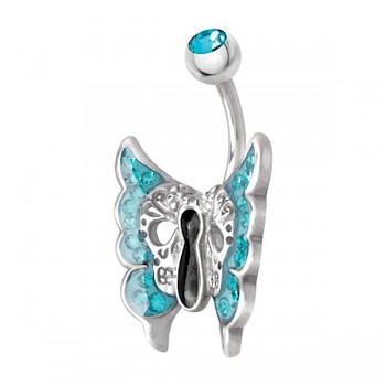 AQUA CRYSTAL MOTH BELLY BAR WITH SWAROVSKI ELEMENTS