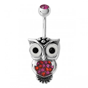 RED OWL BELLY BAR WITH SWAROVSKI CRYSTAL ELEMENTS