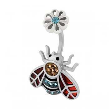 BEE WITH AQUA FLOWER BELLY BAR WITH SWAROVSKI CRYSTALS
