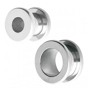 CLASSIC SURGICAL STEEL FLESH TUNNEL WITH ROUND EDGES