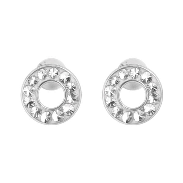 CLEAR CRYSTAL CLUSTER HOOP EAR STUDS