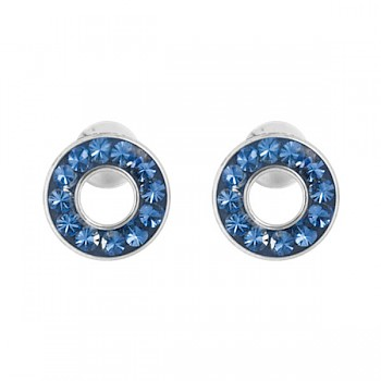 BLUE CRYSTAL CLUSTER HOOP EAR STUDS