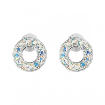 AB CRYSTAL HOOP EAR STUDS