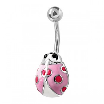 LADYBUG BELLY BUTTON BAR - PINK