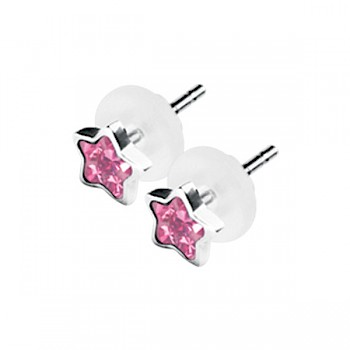 PINK STAR SHAPE CRYSTAL CLUSTER EAR STUDS