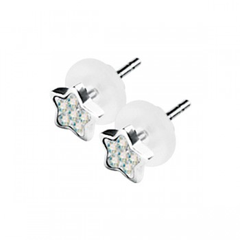 AB STAR SHAPE CRYSTAL CLUSTER EAR STUDS