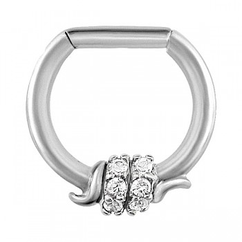 CLEAR JEWELLED BARBED WIRE SEPTUM CLICKER