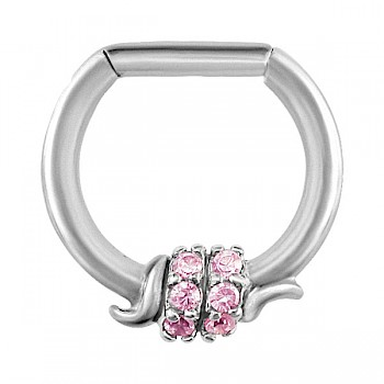 PINK JEWELLED BARBED WIRE SEPTUM CLICKER