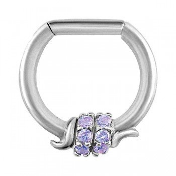 PURPLE JEWELLED BARBED WIRE SEPTUM CLICKER