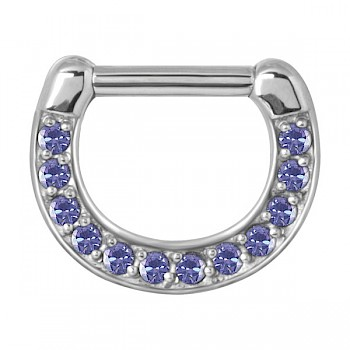 PURPLE MULTI CRYSTAL SEPTUM CLICKER
