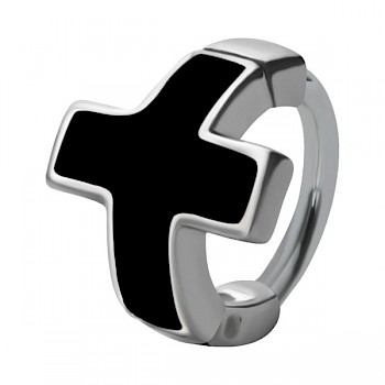 HELIX & CARTILAGE UPPER EAR RING - BLACK ENAMEL CROSS
