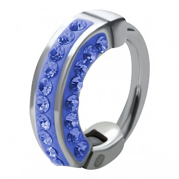 HELIX & CARTILAGE UPPER EAR RING - BLUE CRYSTALS