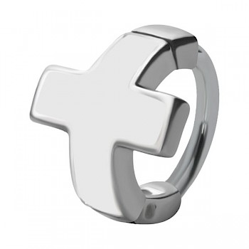 HELIX & CARTILAGE UPPER EAR RING - WHITE CROSS