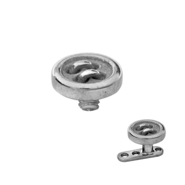 STEEL 4 HOLE BUTTON DERMAL ANCHOR REPLACEMENT TOP HEAD