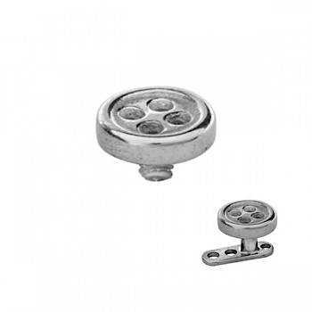 STEEL BUTTON DERMAL ANCHOR REPLACEMENT TOP HEAD