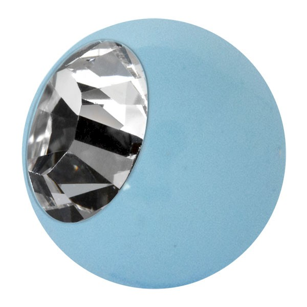 ENAMELLED STEEL BALL - LIGHT BLUE & CRYSTAL