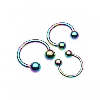 ANODISED TITANIUM CIRCULAR BARBELL - RAINBOW - 1.6mm