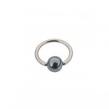 SURGICAL STEEL BCR WITH A HEMATITE BALL - 1.6mm