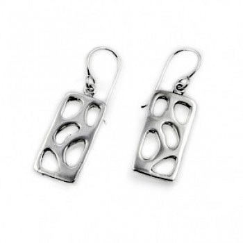 Polished Rectangle Cut-Out Ovals Earrings