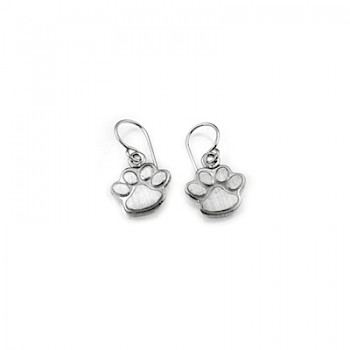 Raised Paw-Print Drop Earrings - 15mm Wide