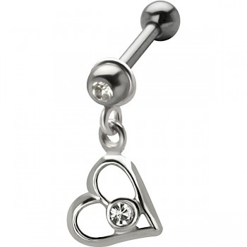 DANGLING TRAGUS & EAR STUD - JEWEL HEART
