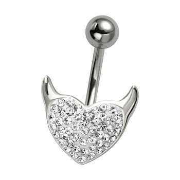 CLEAR CRYSTAL DEVIL HEART - SILVER BELLY BAR