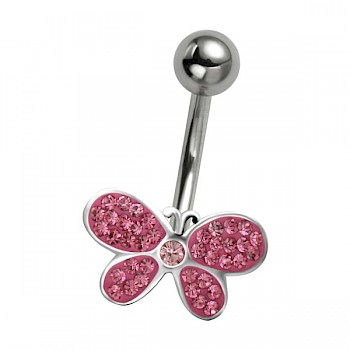 PINK CRYSTAL BUTTERFLY - SILVER BELLY BAR