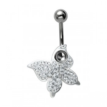CRYSTAL BUTTERFLY DANGLE BELLY BAR - CLEAR CRYSTALS
