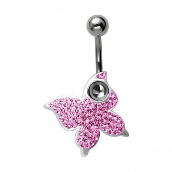 CRYSTAL BUTTERFLY DANGLE BELLY BAR - PINK CRYSTALS