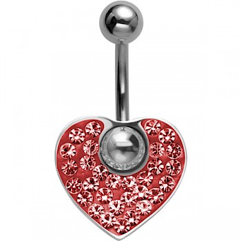 CRYSTAL HEART DANGLE BELLY BAR - RED