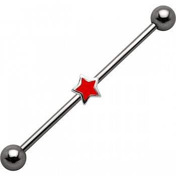 Industrial Piercing Bar with Red Star