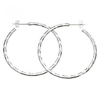 2.5mm Hammered Silver Hoop Earrings - 50mm Wide