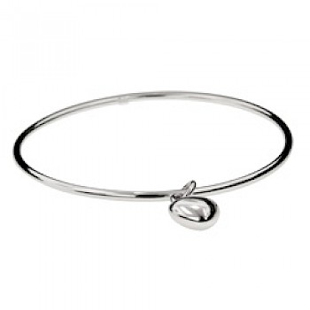 Round Bangle with Heart Charm - 2mm Solid