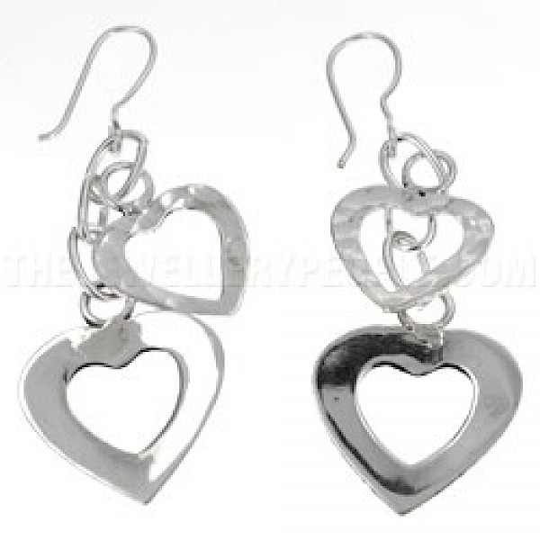 2 Heart Cascade Silver Earrings - 65mm Long