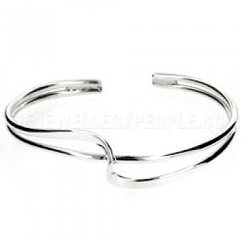 2 Piece Cross Wave Open Silver Bangle - 15mm Wide