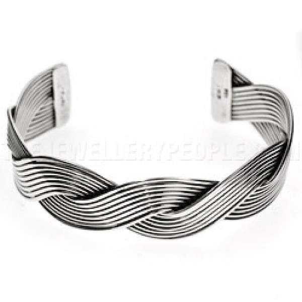 2 Piece Flat Twisted Open Silver Bangle - 20mm Wide