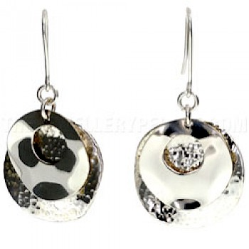2 Piece Layered Cut Out Silver Earrings - 30mm Wide