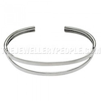 2 Piece Open Silver Bangle - 13mm Wide