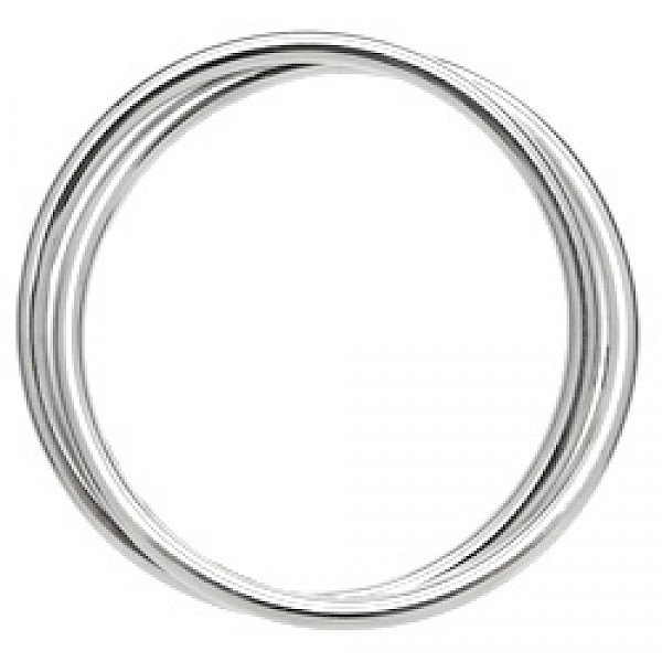 2 Piece Tubed Silver Russian Wedding Bangle - 4mm