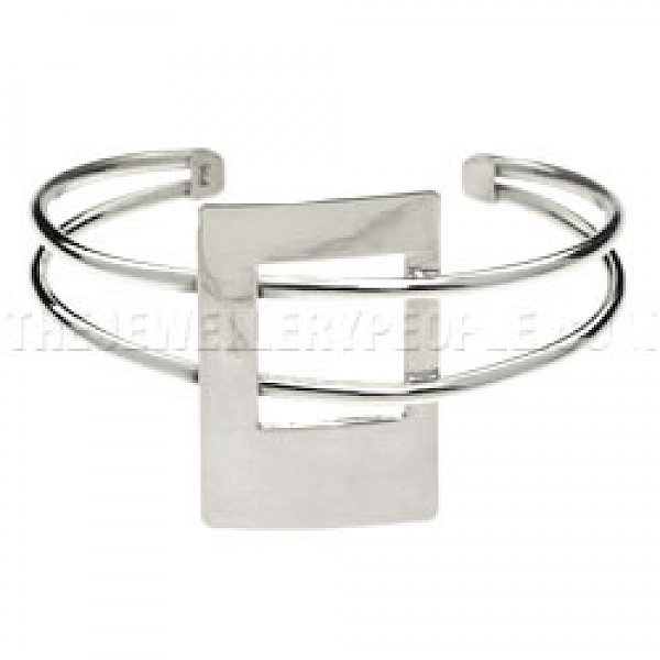2 Strand Polished Rectangle Silver Bangle